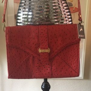 NWT Koret Faux Ostrich Leather Red Cross Body Bag